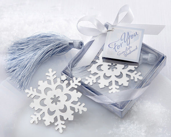 Snowflake Bookmark Elegant Ice-Blue Tassel Favor Winter Theme Wedding Favor Book