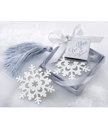 Snowflake Bookmark Elegant Ice-Blue Tassel Favor Winter Theme Wedding Fa... - $1.63