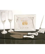 """Love"" Design Wedding Set Accessories Reception Guest Book Flutes Server... - $57.93"