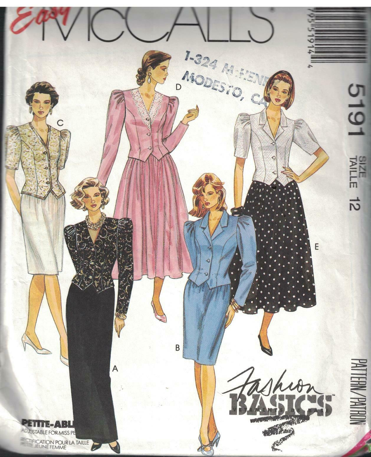 Primary image for 5191 Vintage McCalls Sewing Pattern Misses Two Piece Dresses in 3 Lengths Easy