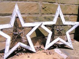 TWO Western Wall Stars Wood with Cast Iron Rustic decor Off White bz - $129.98