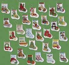 Bucilla More Tiny Stocking Ornaments cross stitch Kit 3x2.5in 14 ct aida XMAS 30 - $26.99