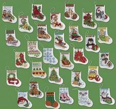Bucilla More Tiny Stocking Ornaments cross stitch Kit 3x2.5in 14 ct aida... - $25.99