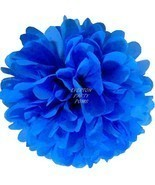 BRIGHT BLUE Tissue Paper Pom ~ Medium 13 inch R... - $3.75