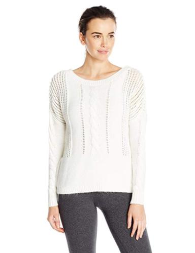 S 4-6 Lole Women's Taraji Sweater Boat-neck Mesh Pointelle White