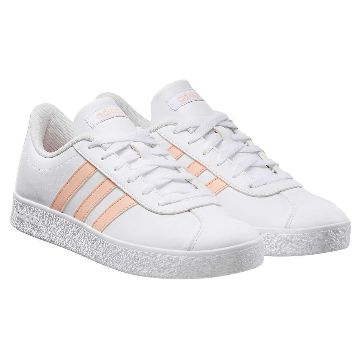 Nuevo adidas Infantil Blanco Rosa Vl Tribunal 2.0 Patín Tenis Gimnasio Zapatos