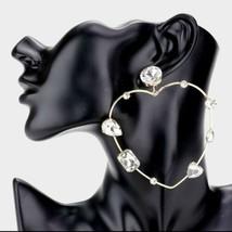 Gold Crystal Heart Geometric Fashion Stylish Trendy Bling Open Big Hoop ... - $19.80