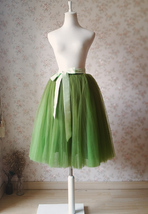 6-layer Puffy Tulle Skirt Women's Tulle Ballerina Skirt Midi Length Green image 1