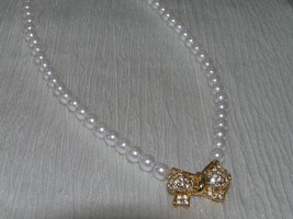 Estate Napier Faux White Pearl Bead with Clear Rhinestone Encrusted Ribbon Bow - $12.19