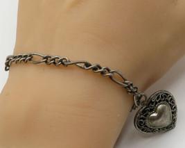 DANECRAFT 925 Sterling Silver - Vintage Filigree Love Heart Bracelet - B2039 - $60.14