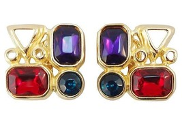 Trifari TM Geometric Modernist Jewel Tone Runway Couture Earrings c. 1980s - $111.27