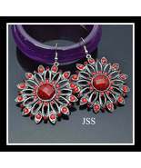 Stunning Red Flower Earrings with Silver Nice GIFT - $14.00