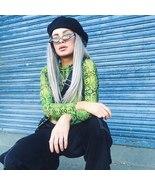 BOOFEENAA Neon Green Snake Print Mesh Crop Top Long Sleeve Turtleneck Sh... - $23.61