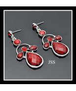 Red Crystal Silver Dangle Earrings - $13.50