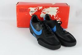 Vtg 80er Nike 5.5 Genoa Innen Turf Fußball Turnschuhe Schwarz Blau - $107.73