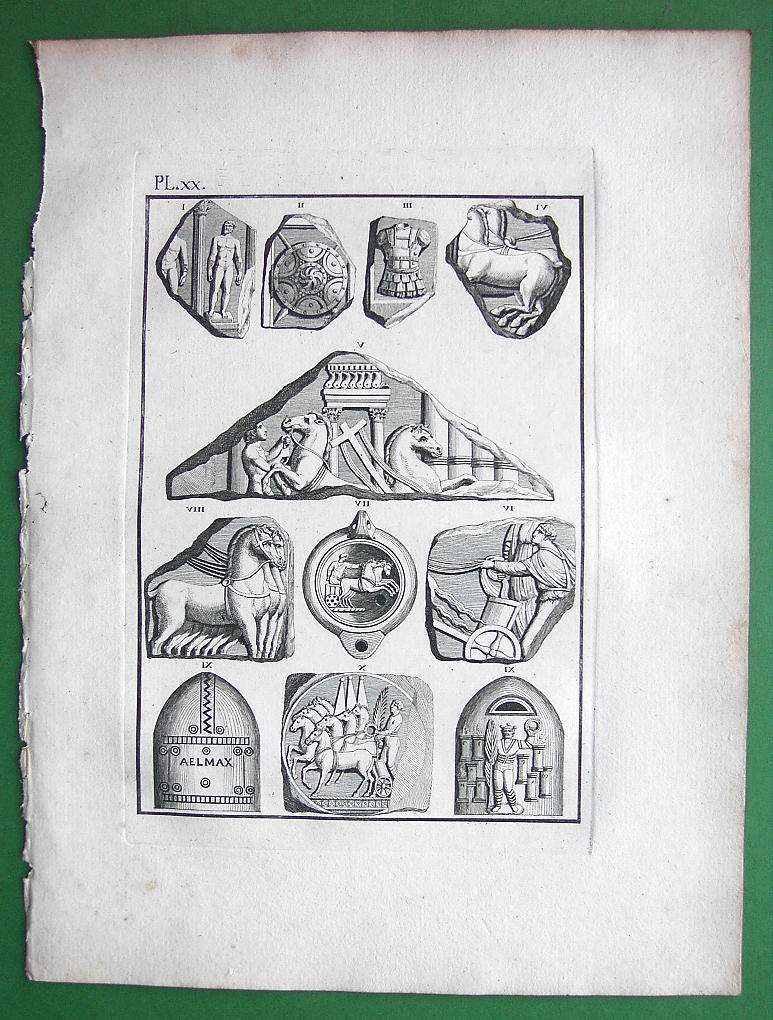 1814 Copperplate Print - Roman Antiquities Objects of Games of Sorceress Circe - $16.20