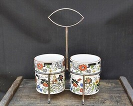 England Staffordshire Royal Norfolk Condiment Set in EPNS SP Crate Chinoiserie  - $11.95
