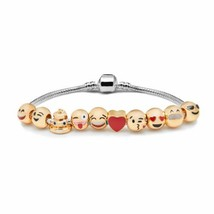 Emoji Charm Bracelet - 18K Yellow Gold Plated Beads - 10 Charms - versi... - $17.77