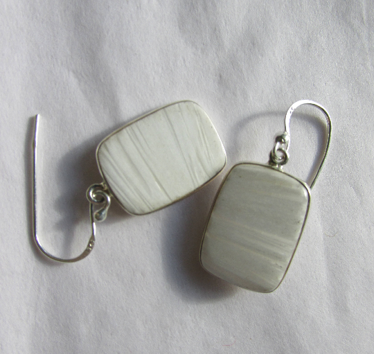 Adorable Scolecite Earrings, 925 Silver, Positive Energy, Handmade