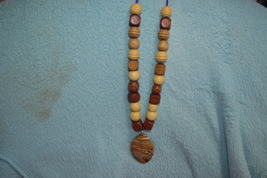 Natural picture Jasper and wooden bead pendant, necklace - $24.98