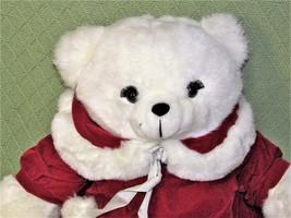 1989 K Mart CHRISTMAS TEDDY Bear Vintage Dan Dee GIRL White Red EYELASHE... - $9.50