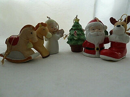 Vtg Homco Ornaments lot of 6 Porcelain Angel Christmas Tree pony deer Sa... - $13.85
