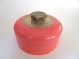 Avon Unforgettable Beauty Dust Powder Puff Canister Coral Gold Vanity Tr... - $18.80