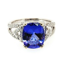 Natural Tanzanite Diamond Anniversary Ring 3.81 TCW 14k Solid White Gold... - $1,975.05
