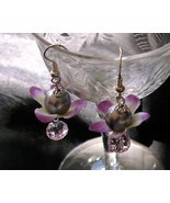 Crystals Petals and Pearls USA Artisan Handcrafted OoaK Earrings Free Gi... - $14.99