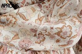 Bohemian Floral Print Ruffle V Neck Wrap Sash Sundress image 4