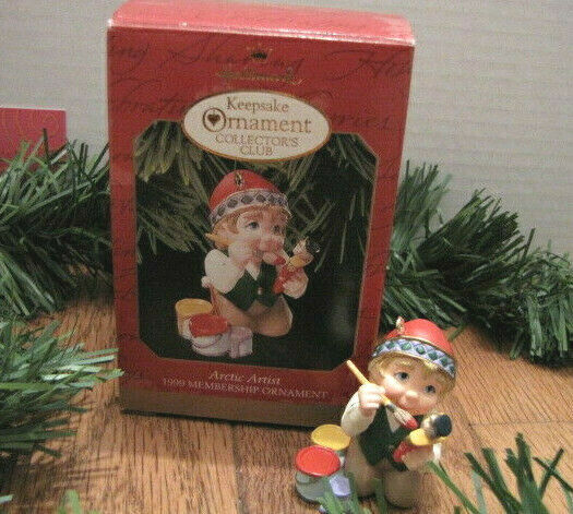 Primary image for ARCTIC ARTIST 1999 Hallmark Keepsake Membership Ornament Collector's Club Elf