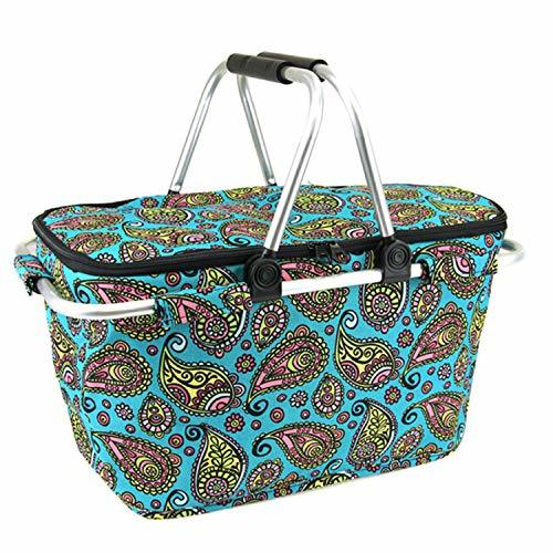 scarlettsbags Paisley Print Metal Frame Insulated Market Tote Turquoise