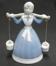 Girl Carrying Water Buckets on Shoulders Porcelain Figurine Bell Blue Wh... - $17.41