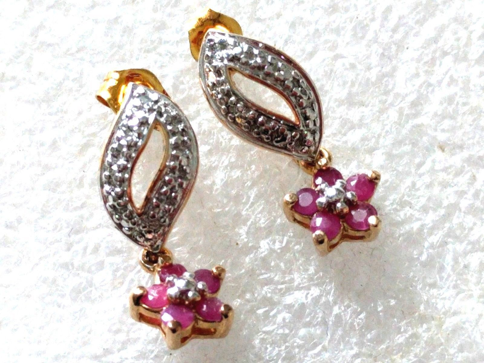 Primary image for STERLING SILVER GOLD PLATED RUBY DANGLE FLOWER EARRINGS 925