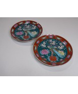 """Two 11"""" GOLD IMARI Hand Painted Plates w Peacocks & Flowers Teal / Burnt... - $83.66"""