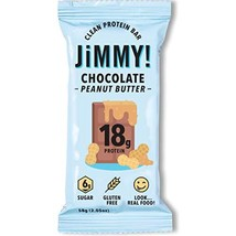 Jimmy! Chocolate Peanut Butter Protein Bars, 18g Protein, Low Sugar, 24 Count