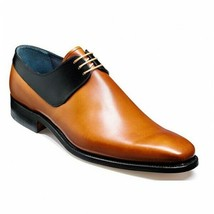 Two Tone Black Tan Oxford Derby Premium Quality Men's Leather Dress Shoes - $139.55+