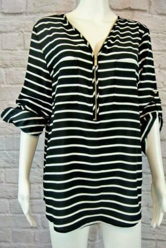 "NWT CALVIN KLEIN Striped Zip Pullover Top XL Fits like a L 42"" Bst"