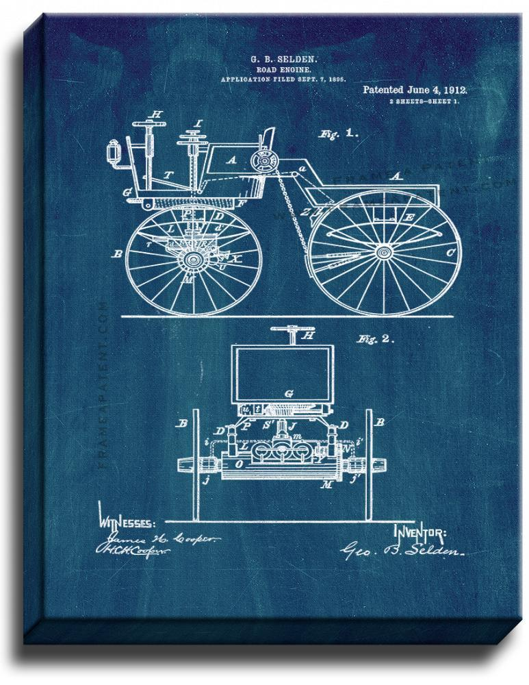 Primary image for Road Engine Patent Print Midnight Blue on Canvas