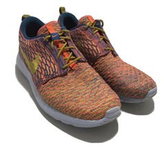 Women's Nike Roshe One Flyknit Shoes Sz 10 704927-402 Citron Brigade Blue 2015 - $47.47