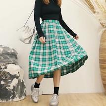 Plus Size GREEN Plaid Skirt Women Girl Long Pleated Skirt Full Green Plaid Skirt image 2