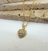 Avon Small Pave White Rhinestone Gold Tone Heart Charm Pendant Necklace CC4 - $14.99