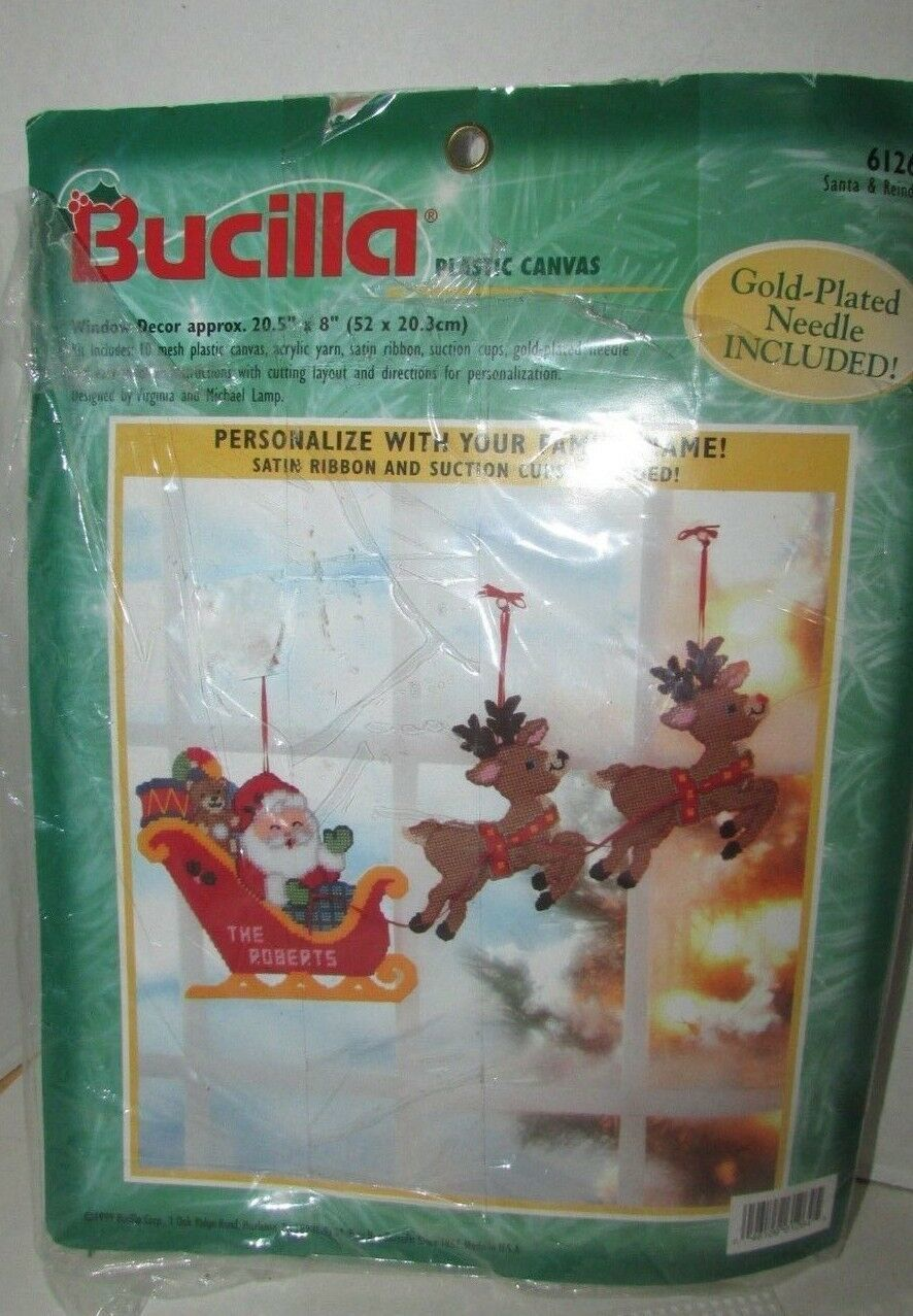 Primary image for Bucilla Plastic Canvas Window decor Christmas Santa's sleigh reindeer opened