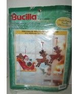 Bucilla Plastic Canvas Window decor Christmas Santa's sleigh reindeer op... - $8.90
