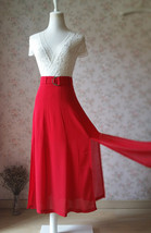 Double Slit Skirt Long RED SKIRT Lady Red High Waisted Party Skirt with Belt NWT image 5