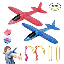 "MIMIDOU 2 Pack Glider Plane Toys, 17.5"" Large Throwing Foam Airplane, Dual Fligh"