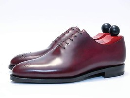 Handmade Men's Burgundy Lace Up Brogues Dress/Formal Oxford Leather Shoes image 3
