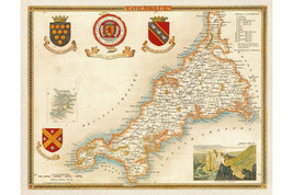 Cornwall by Moule ca.1850; Beautiful Vintage Map; Hi Res Repro - $26.72+