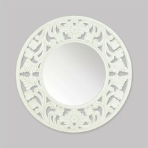 Carved White Round Wall Mirror - $49.82