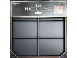 """The Paper Studio Wooden Memory Tray, Holds 4x6"""" Photos, Black, Mixed Media"""